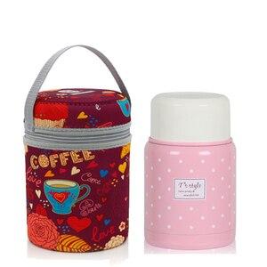 Image 2 - 350ml thermos inox cuillère pliante thermique boîte à déjeuner enfants termos coloré pot à soupe portable sac récipient alimentaire