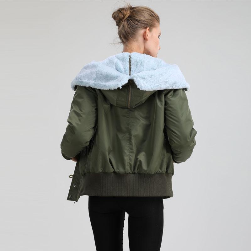 Arrivée Nouvelle À Et 2017 Femmes Vent Courte Split Veste Spécial Boomber Hiver Imperméable Vert Chapeaux L'eau Parka qEw1gwT