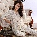 Outono 100% Algodão Conjunto Mulheres Pijama Femme Longos Das Senhoras Da Luva Floral pijamas pijamas Salão de Lazer Pijama Macio Pijamas M-XXL