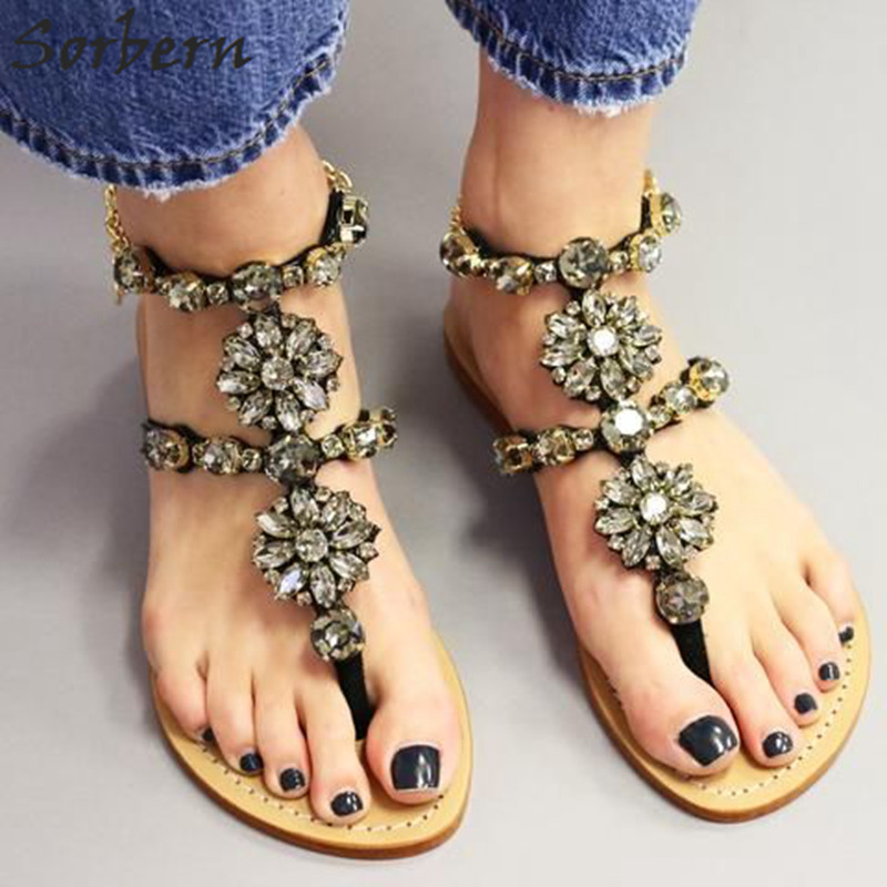 Sobern Women Sandals Rhinestones Chains Gladiator Flat Sandals Flip Flop Colorful crystal Women Shoes Summer Platform sandals faux fur turn down collar single breasted pu leather spliced woolen coat