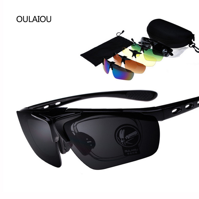 2016 Hot Multicolor 5 Lens Clamshell Sunglasses Kit Men Anti-UV400 Outdoor Glasses Parkour Wind mirror Prevent sand Sunglass