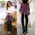 GOPLUS Korean Spring Summer Women Patchwork Leggings All Match Casual Plaid Cotton Blouse&Leggings Two Piece Full Length Pants