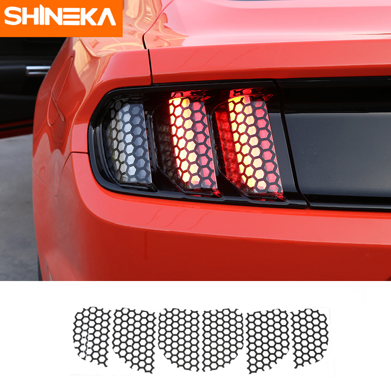 Shineka Car Exterior Accessories Rear Tail Light Lamp Honeycomb Cover Decoration Stickers For Ford Mustang  Car Styling In Car Stickers From