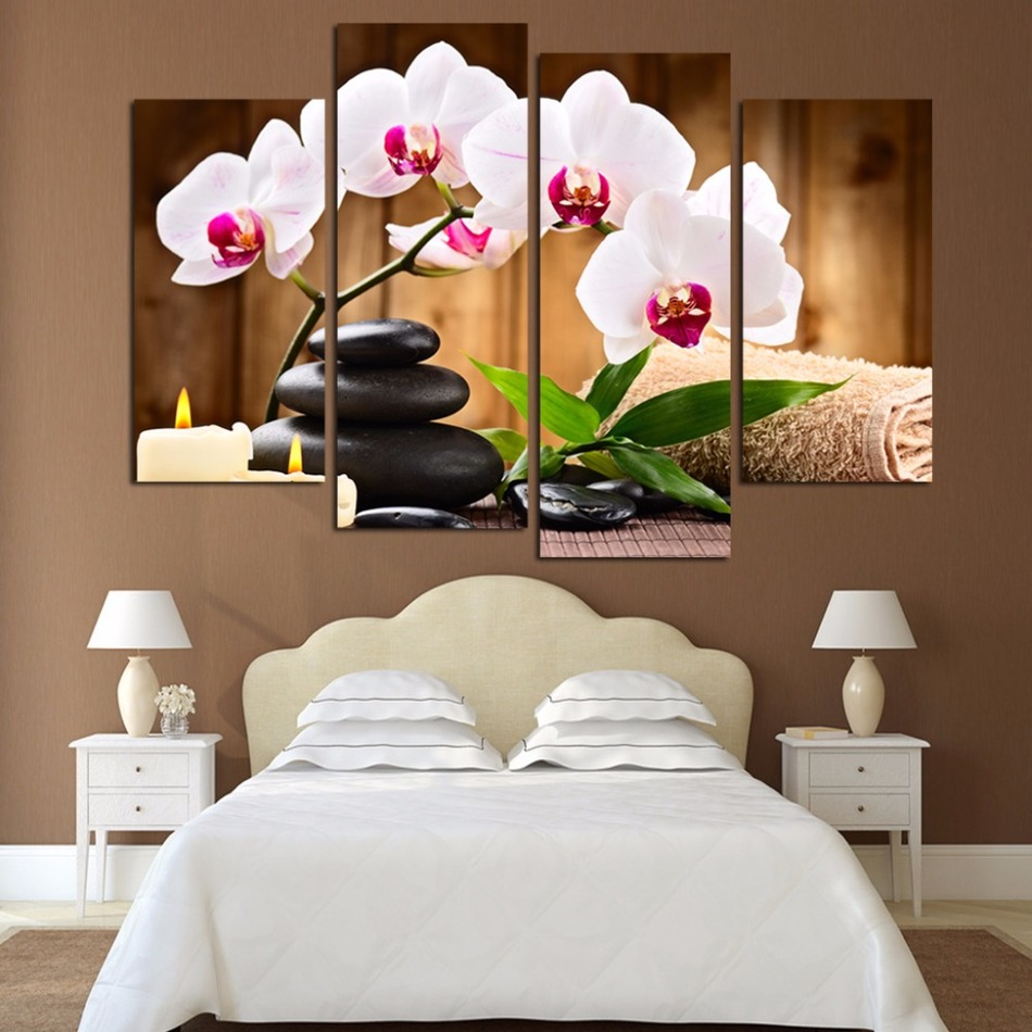 4 Pcs No Frame Pink Flowers Wall Art Picture Modern Home Decoration Living Room Or Bedroom Canvas Print Painting In Calligraphy
