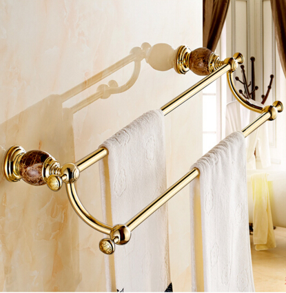 все цены на 62cm High Quality Brass & Jade Golden Double Towel Bar,Towel Holder, Towel Rack, Bars Products,Bathroom Accessories