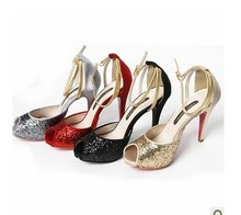 w-free shipping 2016 new arrivals women sandals female/ladies sexy sequined cloth summer wedding bride shoes/pumps/party heels