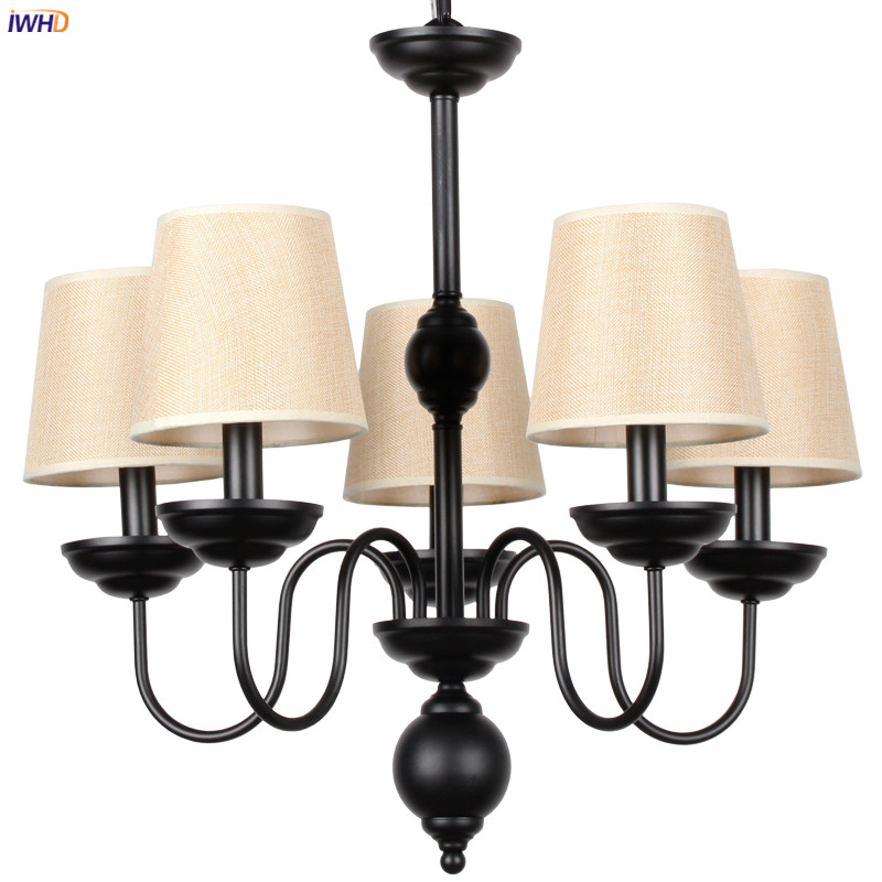 IWHD Black Iron Wrount Retro Chandelier Lighting Kitchen Bedroom Living Room Fabric Loft Decor Vintage LED Chandeliers Lustres Chandeliers    - title=