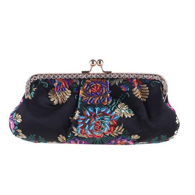 diseño de calidad aa980 ffbd6 Bolso de mano bordado para mujer bolso Vintage flor fiesta noche bolsos  Mini hecho a bandolera cristal