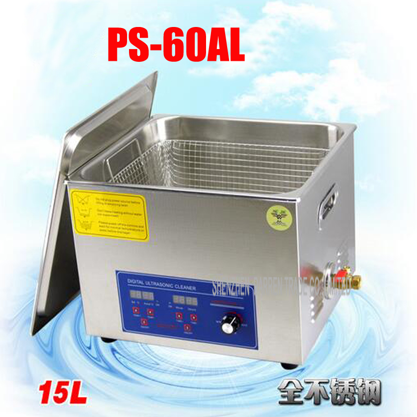 1PC 110V/220V PS-60AL 360W Ultrasonic Cleaner 15L Cleaning Equipment Stainless Steel Cleaning Machine 1pc 110v 220v ps 60al 360w ultrasonic cleaner 15l cleaning equipment stainless steel cleaning machine