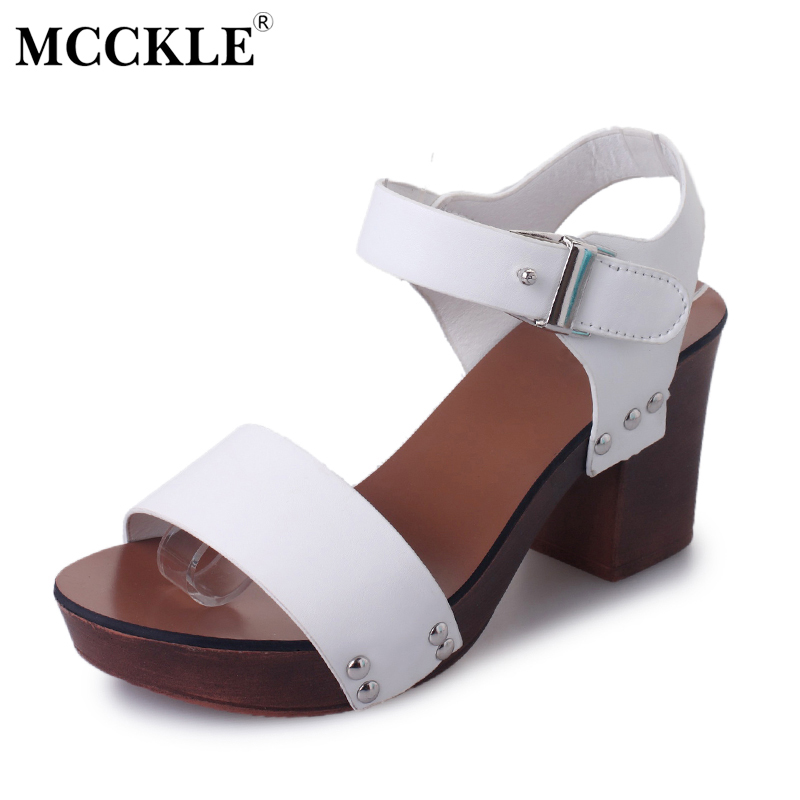MCCKLE 2017 Women Fashion Sandals Ladies Casual Hight Heels Buckle Strap Shoes Rivets Woman Summer Open Toe Female Sandals  ephemeral ladies zip sandals with heels buckle strap open toe summer casual shoes woman spongy insole plus size 11 12 white pink