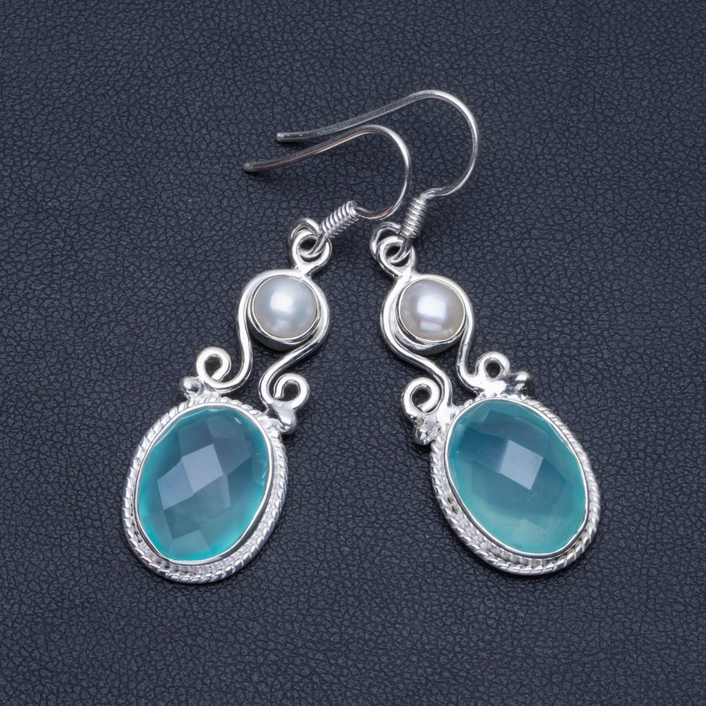 Natural Chalcedony and River Pearl Boho 925 Sterling Silver Drop Earrings 1 3/4 R1380Natural Chalcedony and River Pearl Boho 925 Sterling Silver Drop Earrings 1 3/4 R1380