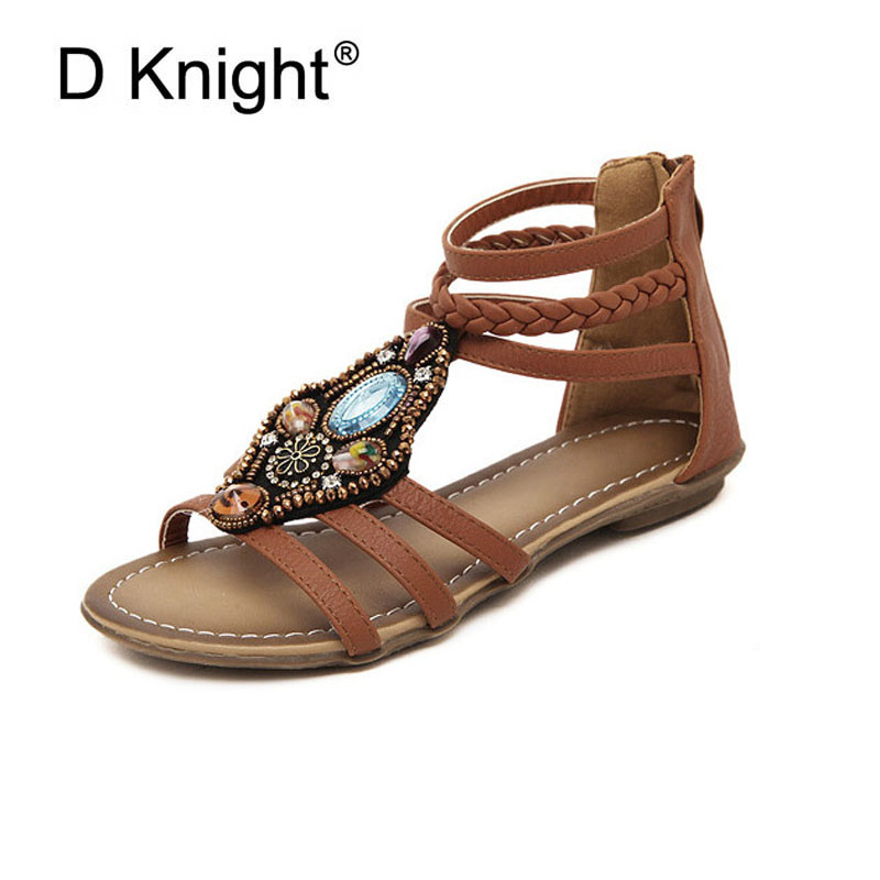 526869d6ae8e5 US $22.55 39% OFF|Plus Size Ethnic Bohemian Summer Woman String Bead  Sandals Gladiator Roman Strappy Lady Casual Shoes Women Flat Sandals with  Zip-in ...