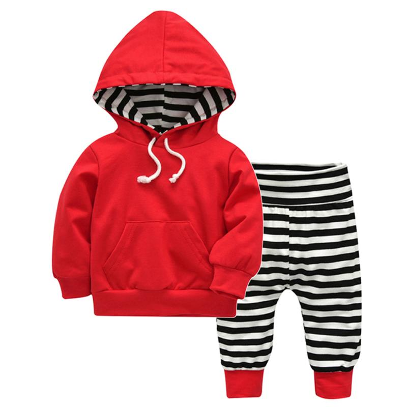 2pcs Autumn Warm Unisex Baby Clothing Set Drawstring Pocket Hoodies + Pants Set Solid Color Baby Comfortable Casual Outfit
