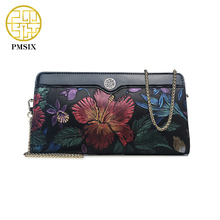 Pmsix 2017 Embossed Flower Genuine Leather Ladies Evening Party Small Clutch Bag Luxury Chain Shoulder Bag
