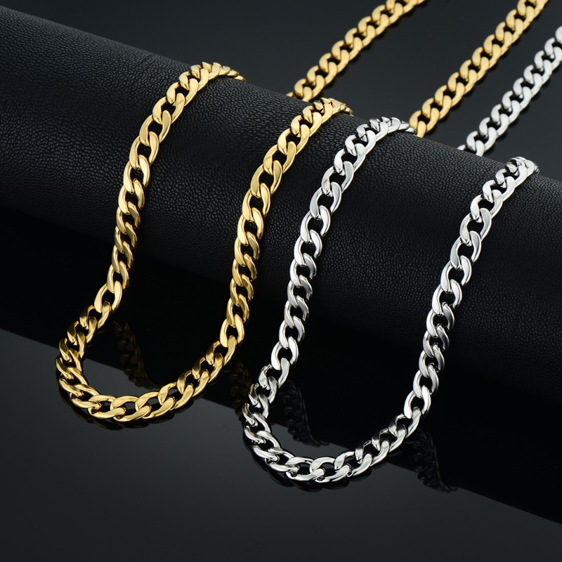 Top Fashion Cool Vintage Silver Color Long Chain Necklace Wholesale Herrsmycken, New Male Silver Curb Cuban Chain Link Necklace