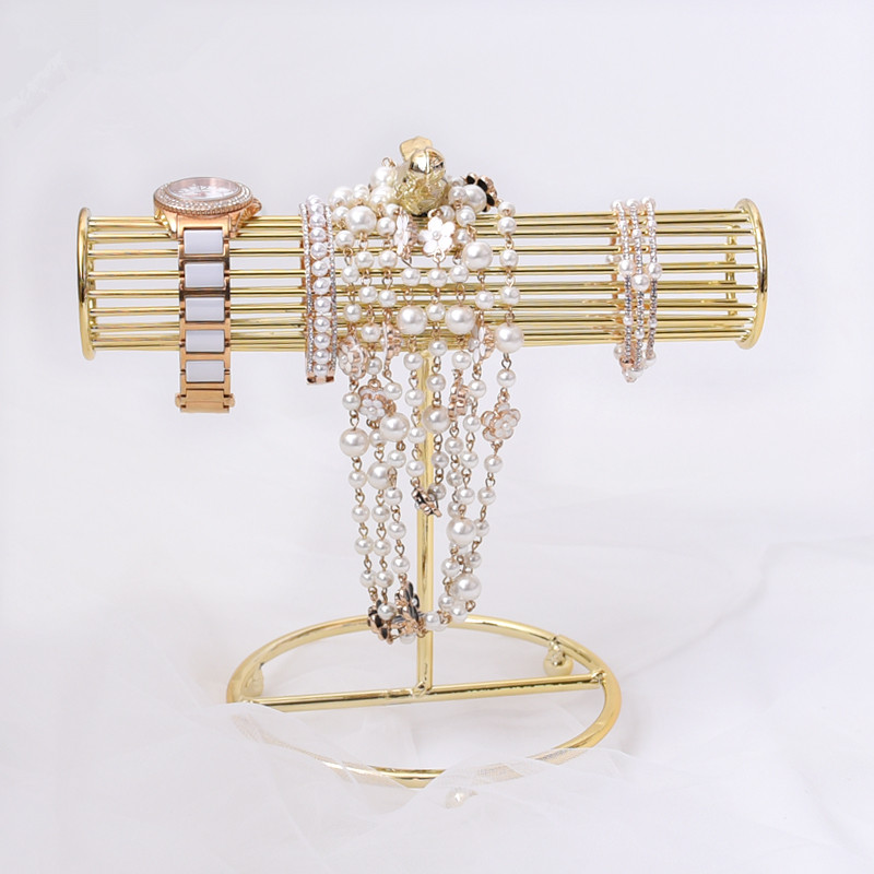 Nouveau Mode Or Plaqué Montre Bracelets Collier Boucles D'oreilles Présentoir T-bar Bijoux Présentoir Pendentif Affichage Titulaire