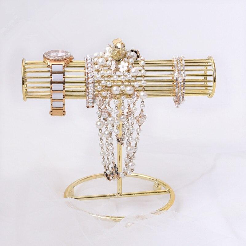 Nouveau mode plaqué or montre Bracelets collier boucles d'oreilles présentoir t-bar bijoux présentoir pendentif présentoir
