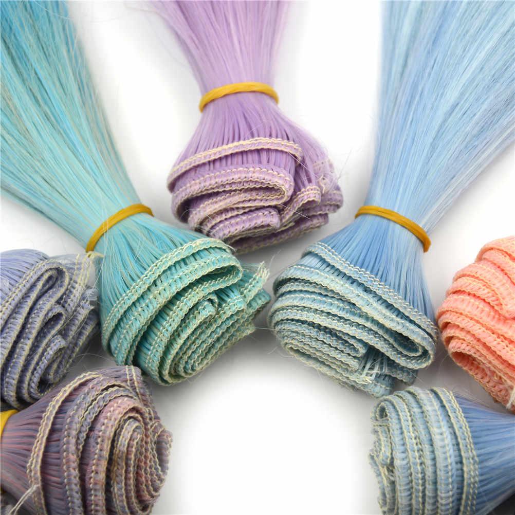 בובת שיער פאות 15cm ישר שיער עבור BJD SD Blyth בובות Chole בובת פאות בטמפרטורה גבוהה חוט שיפוע צבע בובת אבזרים