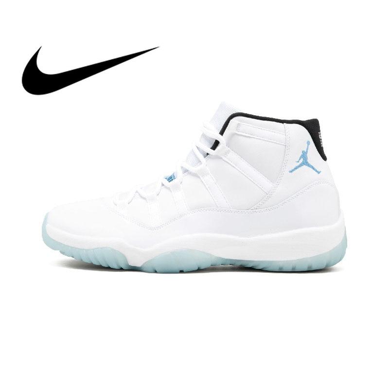 premium selection c570f 20487 US $121.6 17% OFF|Original Authentic Nike Air Jordan Retro 11 Men's  Basketball Shoes Fashion Outdoor Sports Shoes Wear Elastic Slip 378037  117-in ...