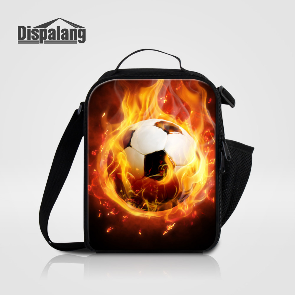 Dispalang Insulated Cooler Lunch Bags For Men Boy Ball Pattern Kids Thermal Shoulder Bag Food Picnic Bags Tote Lunch Handbags
