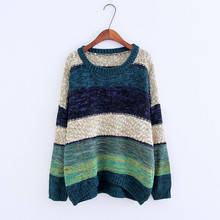 2017 New Autumn Sweater Women O-Neck Contrast Color Striped Pullover Female Knitted Clothes Comfortable Loose Sweater For Women
