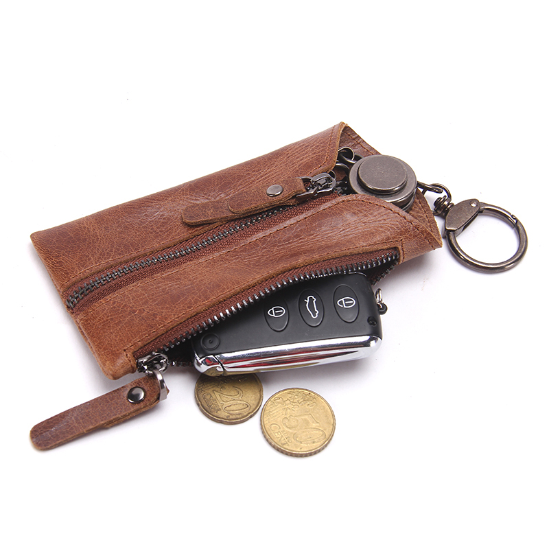 CONTACT'S Vintage Genuine Leather Key Wallet Women Keychain Covers Zipper Key Case Bag Men Key Holder Housekeeper Keys Organizer 1