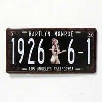 1926 6-1 MARILYN MONROE Wall Decoration Vintage Metal License Plate Art Bar Home Restaurant Decor 15*30CM Tin Signs HB-023