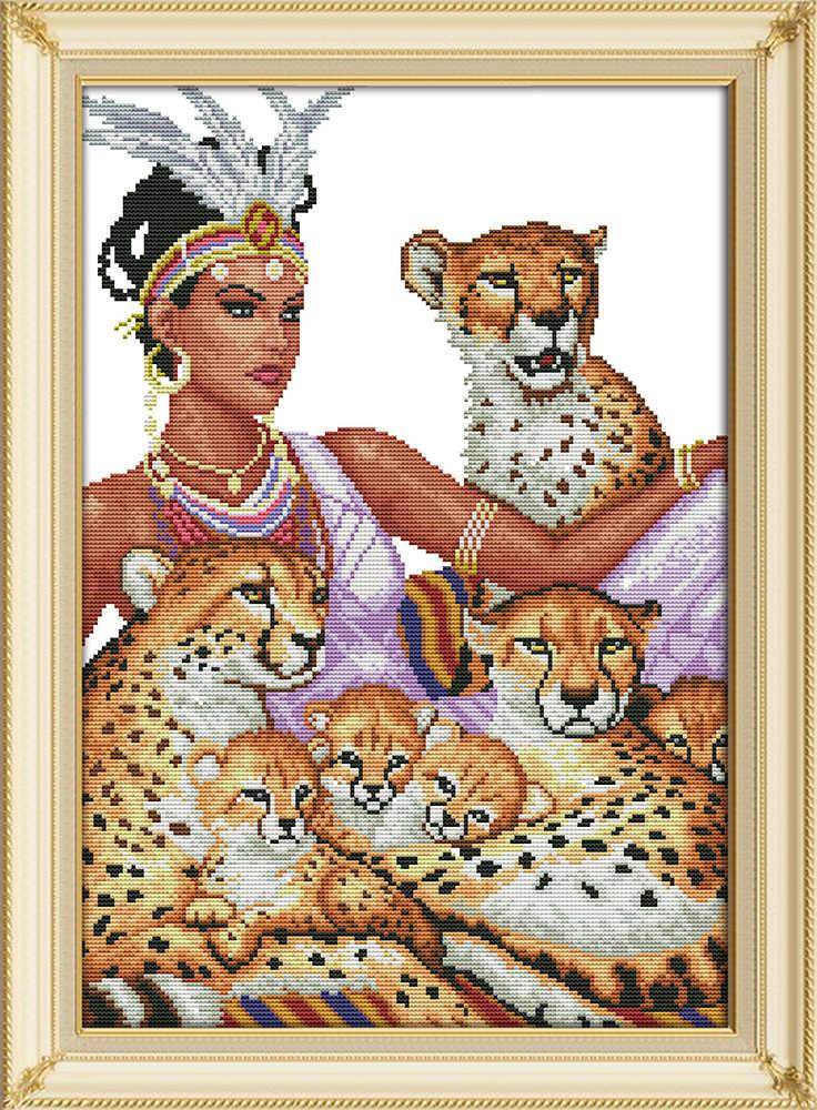 Индеец и леопард Набор для вышивки крестом животное Аида 14st 11ct граф холсты стежков вышивка DIY рукоделие ручной работы