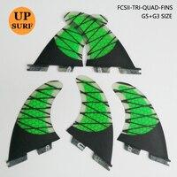 FCS2 Fins G5 G3 Size Green Honeycomb Surf Fins FCS II Tri Quad Set Surfboard Fin