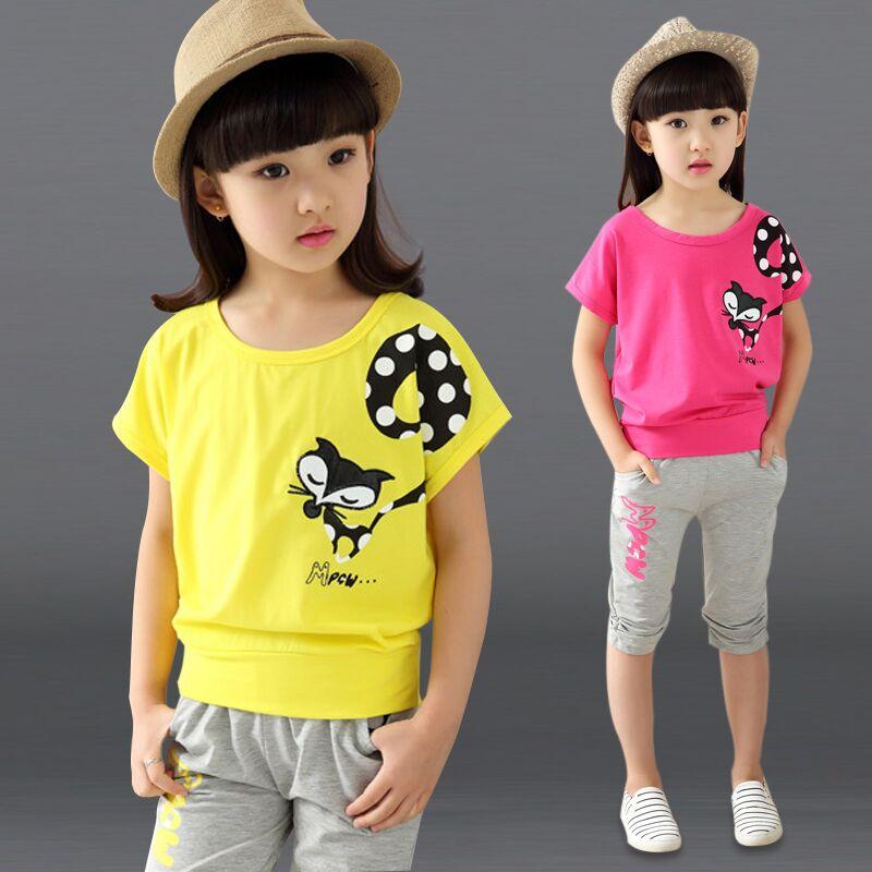 Бесплатная доставка новинка 2016 модный летний детский костюм рубашка и штанишки 2 предмета комплект одежды для малышей малый рост 110-170