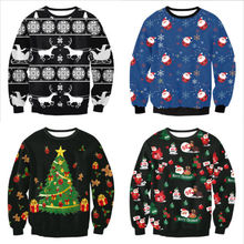 Women Men Pullover 2019 New Autumn Winter Tops Xmas Clothing Ugly Christmas Santa Claus Printed Loose Sweater Unisex  M L XL