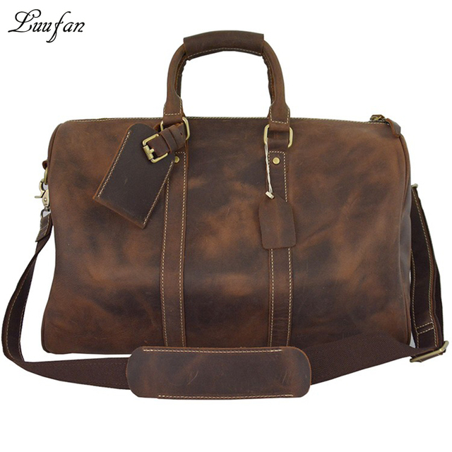 Aliexpress.com : Buy Crazy horse leather travel bag big leather ...