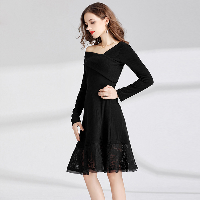 1629c9dda93f8 Willstage Little Black Dress Plus size 4XL Slim Lace Patchwork Long Sleeve  Dresses Women 2018 Autumn Spring Night Party Vestidos-in Dresses from  Women s ...