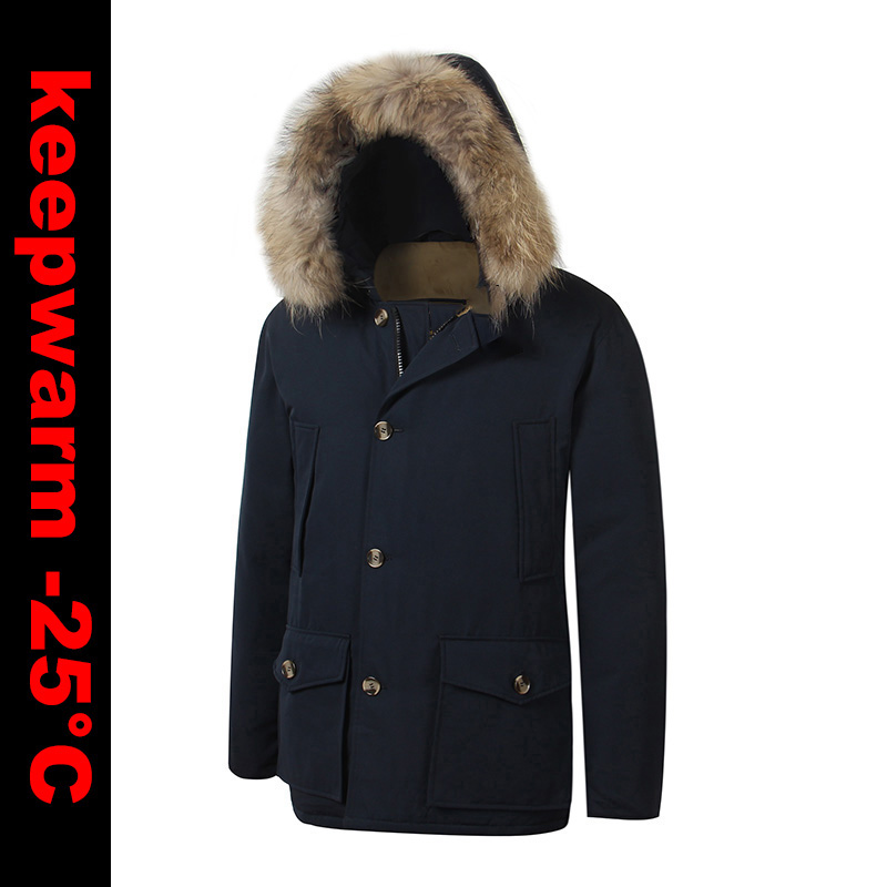 b6e4098b9 US $120.0 |2018 Brand New Mens White Duck Down thick Coat Winter Arctic  Down PARKA with removable real raccoon fur Jacket-in Down Jackets from  Men's ...