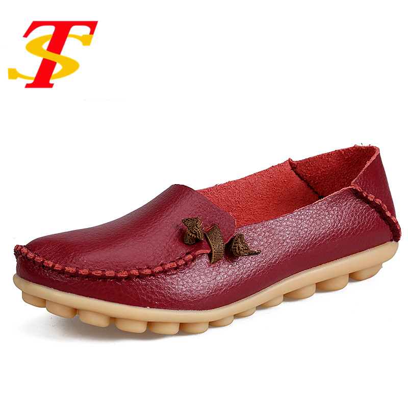 TS Plus Size Summer Women Leather Shoes Woman Flat Footwear Soft Flexible Slip-on Round Toe Nurse Casual Fashion Loafer Moccasin  wolf who 2017 summer loafers cut out women genuine leather shoes slip on shoes for woman round toe nurse casual loafer moccasins