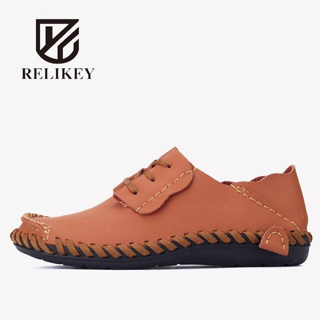 RELIKEY Marca Hombres Hechos A Mano Sandalias de Cuero Genuino de la Vaca Suave Zapatos Masculinos de Verano Retro Costura Casual Beach Flats Zapatos para Hombres