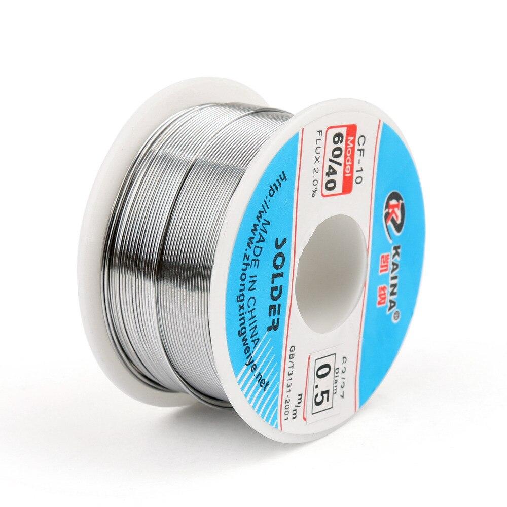 Areyourshop Venta Alta Calidad 0.5mm 100g 60/40 Colofonia Core Estaño Plomo de Soldadura Alambre de Soldadura Soldadura Flux 2.0% Hierro Carrete de alambre