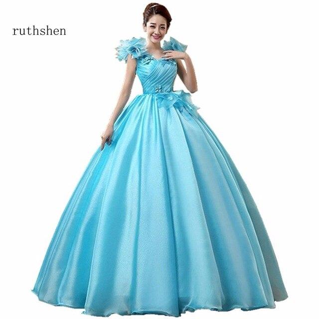 ruthshen Fairy Vestidos De Dulces 16 Quinceanera Dresses Blue Ruffle Flowers  Shoulders Organza Sweet 15 Masquerade Ball Gowns 464af361f649