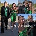 Free Shipping Short Mini Emerald Green Strapless Sweetheart Satin Homecoming Dress FX003