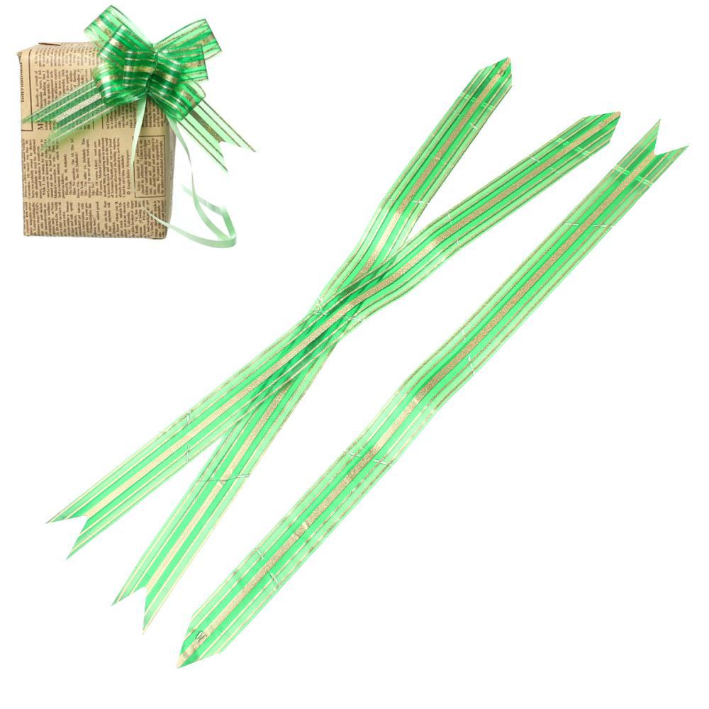 "Gift Box Garland Pull Bows Decorations Green Stripe Pattern 50.5cm(<font><b>19</b></font> <font><b>7</b></font>/<font><b>8</b></font>"")<font><b>x</b></font> 3.0cm, 1 Packet(Approx 10 PCs/Packet)"