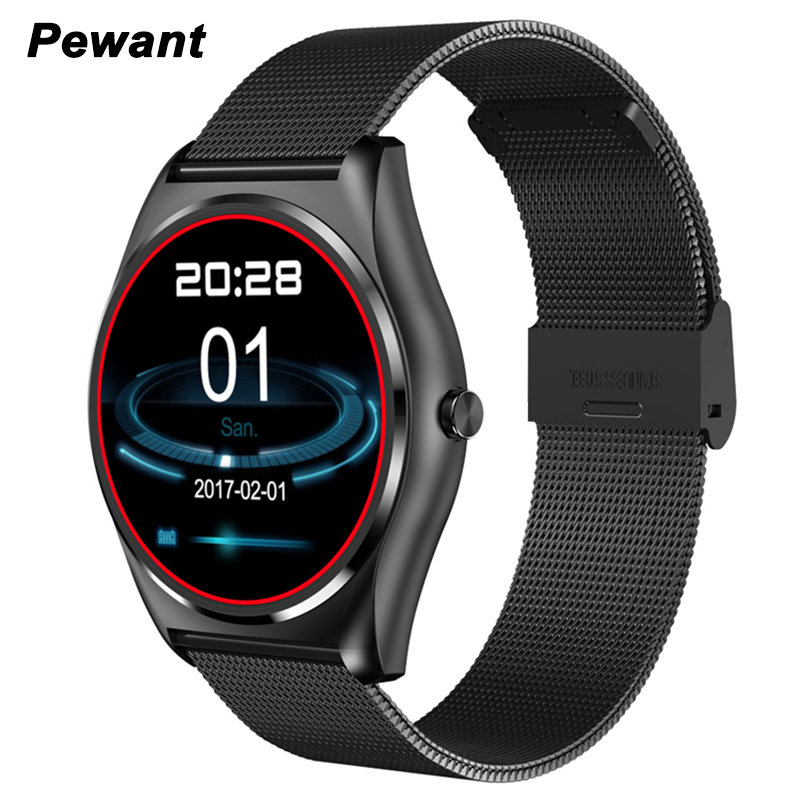 Pewant Men Smart Watch With Heart Rate Monitor Pedometer Twitter Facebook MP4 Video Playing Smartwatch For Andriod IOS Phone u80 smart watch with pedometer function