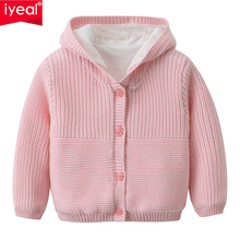 IYEAL Baby Toddler Girls Hooded Warm Knit Cotton Cardigan Sweater Fashion Kids Winter Warm Outerwear for 1-3 Years
