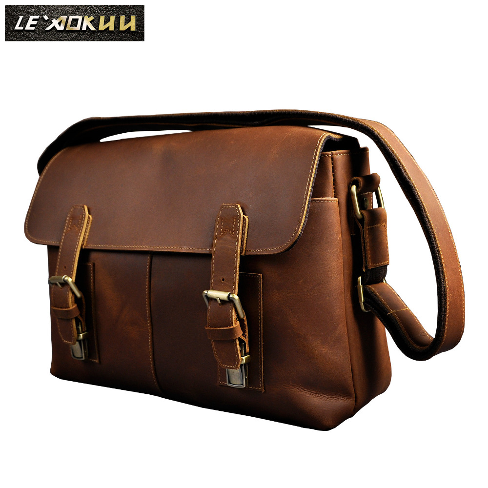 New Fashion Real Leather Male Casual Messenger bag Satchel cowhide 13 Laptop Bag Cross-body Shoulder bag For Men 2761 new trend sale men s genuine leather business casual messenger shoulder bag tablet satchel cross body book bag black t0985