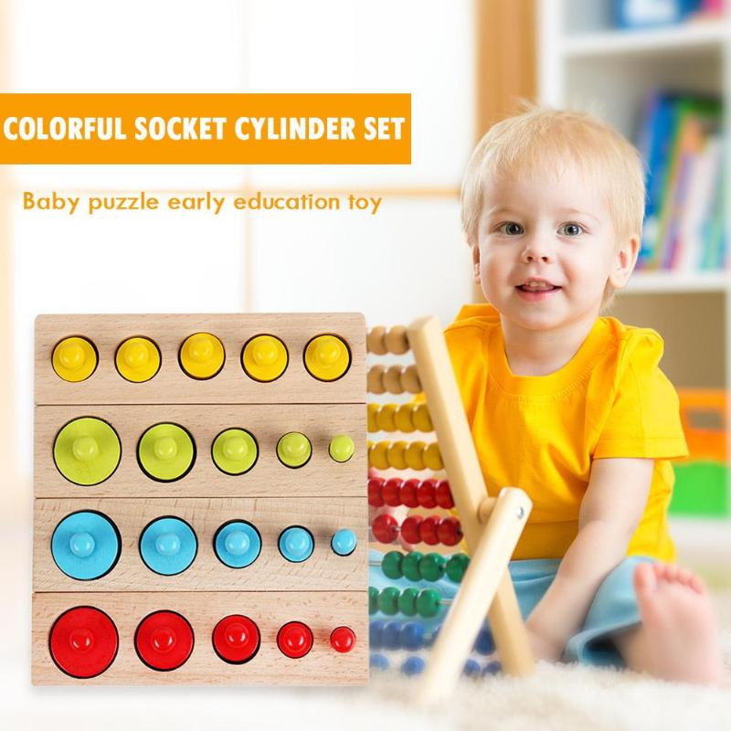 Baby Montessori Educational Wooden Toys Colorful Socket Cylinder Block Set For Children Educational Preschool Early Learning Toy