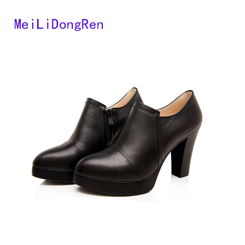 2017 Fashion Genuine Leather Women Ankle Boots Thick Heel Female Short Boots Spring Autumn Ladies Work Shoes Office botas mujer