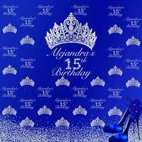 custom Royal Diamond Princess Crown 15th Birthday Silvery photo backdrop High quality Computer print party background