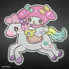 Милая девочка из мультфильма с розовой шляпой Железная на вышитой ткани патч для девочек мальчиков одежда наклейки одежда аксессуары
