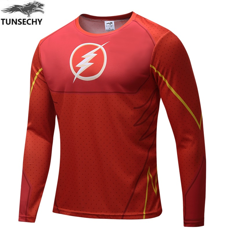 TUNSECHY 2017 superhero steel men T-shirt fashion brand superman long-sleeved T-shirt free shipping wholesale and retail