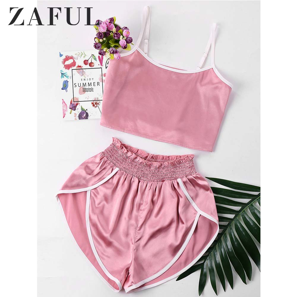 ZAFUL Contrast Trim Cami And Shorts Women Set Two Piece Sets Summer Spaghetti Straps Casual Crop Top Elastic Waist Shorts Set