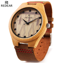 REDEAR Men's Grain Leather Strap Wood Watch Fashion Designer Wooden Watch Mens Watches Top Brand Luxury Bamboo Quartz Wristwatch